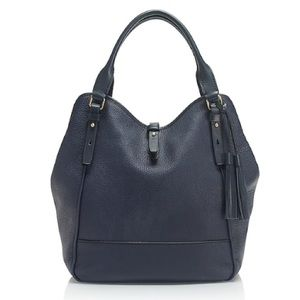 J CREW Hayden Hobo Bag Navy Blue Pebbled Leather